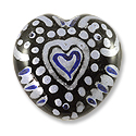 Hand Painted Glass Bead Heart 20mm Blue (1-Pc)