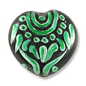 Hand Painted Glass Bead Heart 20mm Green (1-Pc)