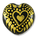 Hand Painted Glass Bead Heart 20mm Gold (1-Pc)