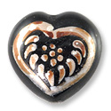 Hand Painted Glass Heart Bead 20mm Brown (1-Pc)
