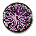 Hand Painted Glass Bead Flat Round 22mm Pink (1-Pc)
