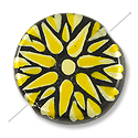 Hand Painted Glass Bead Flat Round 22mm Yellow (1-Pc)