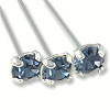Swarovski 1-½ Inch Rhodium Plated Head Pin with 3mm Denim Blue Chaton (2-Pcs)