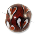 Lampwork Glass Bead Round Silver Foil with Hearts 14mm Red (1-Pc)