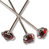 Swarovski 1-½ Inch Rhodium Plated Head Pin with 3mm Siam Chaton (2-Pcs)