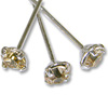 Swarovski 1-½ Inch Rhodium Plated Head Pin with 3mm Light Colorado Topaz Chaton (2-Pcs)