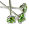 Swarovski 1-½ Inch Rhodium Plated Head Pin with 3mm Peridot Chaton (2-Pcs)
