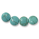 Dyed Howlite Turquoise Disc Beads 12mm (4-Pcs)