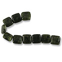 Canadian Jade Puffed Square Beads 12mm (10-Pcs)