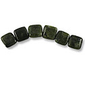 Canadian Jade Puffed Square Beads 14mm (6-Pcs)