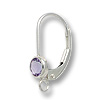 Lever Back Earring with 4mm Amethyst Stone Sterling Silver (1-Pc)
