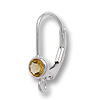 Lever Back Earring with 4mm Citrine Stone Sterling Silver (1-Pc)