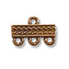 Braided Bar Link 3-Strand 15x4mm Antique Copper (1-Pc)
