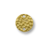Link - Round Hammered 11mm Pewter Bright Gold Plated (1-Pc)