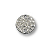 Link - Round Hammered 11mm Pewter Bright Rhodium Plated (1-Pc)