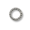 Connector - Hammered Ring 13mm Pewter Bright Rhodium Plated (1-Pc)