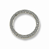 Connector - Hammered Ring 19mm Pewter Bright Rhodium Plated (1-Pc)