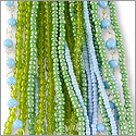 Glass Bead Strands Mix Green and Blue (1-Pc)