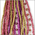 Glass Bead Strands Mix Pink and Tan (1-Pc)