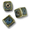 Porcelain Cube Beads Turquoise 10mm (3-Pcs)
