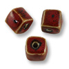 Red Porcelain Cube Beads 10mm (3-Pcs)