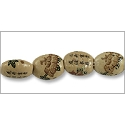 Chinese Character Beads Flat Oval 15x7mm Porcelain (4-Pcs)