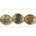 Chinese Character Beads Oval 17x15mm Porcelain (3-Pcs)