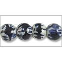 Chinese Character Beads Round 10mm Cobalt Blue and White Porcelain (4-Pcs)