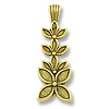 37x13mm Antique Gold Plated Stacked Flowers Pewter Pendant