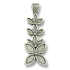 37x13mm Antique Silver Plated Stacked Flowers Pewter Pendant