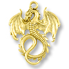 36x28mm Antique Gold Plated Dragon Pewter Pendant