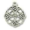23mm Antique Silver Plated Celtic Filigree Quatrefoil Pewter Pendant