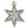 22mm Antique Silver Plated Filigree Star Pewter Pendant