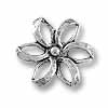 27mm Antique Silver Plated Flower Pewter Pendant