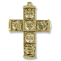 51x37mm Antique Gold Plated Cross Pewter Pendant