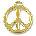 24mm Bright Gold Plated Peace Pewter Pendant