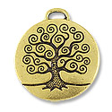 24mm Antique Gold Plated Tree of Life Pewter Pendant