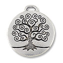 24mm Antique Silver Plated Tree of Life Pewter Pendant