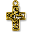 15x23mm Antique Gold Plated Cross Pewter Pendant