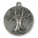 22mm Antique Silver Plated Tree of Life Pewter Pendant