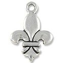 Fleur de Lis Pendant 24x16mm Pewter Antique Silver Plated