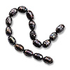 Freshwater Rice Pearl Faceted Peacock Black 6-7mm (16