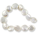 Freshwater Coin Pearls White 13-14mm (16