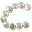 Freshwater Coin Pearls Creme 11-12mm (16