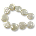 Freshwater Coin Pearls Creme 13-14mm (16