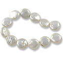 Freshwater Coin Pearls White 11-12mm (16