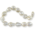 Freshwater Coin Pearls Baroque White 9-10mm (16