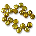 Freshwater Potato Pearl Baroque Nuggets Verde Gold 9-10mm (16