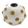 Large Hole Rhinestone Bead Topaz 8mm Sterling Silver (1-Pc)