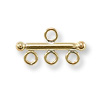 Gold Filled Spacer Bar with 3 Rings 13mm (1-Pc)